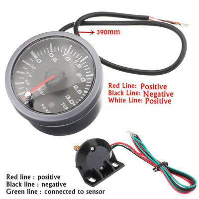 "60mm 2.5""Universal Car LED Turbo Boost Vacuum Press Pressure Gauge Bar Meter 12V"