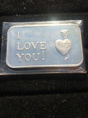 I Love You ~Crabtree Mint,Calif. 1973 RARE 1 Troy Oz. .999 Fine Silver Art Bar