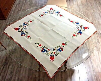 Vintage Linen Tea Tablecloth Topper Norge Floral Embroidered Hand Stitched