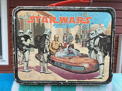 VINTAGE STAR WARS METAL LUNCH BOX 1977 King-Seeley Thermos Co. USED Star Wars