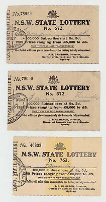 NSW State Lottery Tickets Lottery # 762, 762, 763 J R Cameron Director