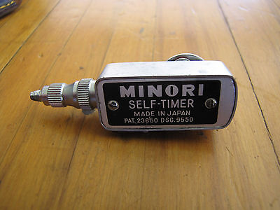 Vintage MINORI Camera Shutter Self Timer with Leather Case Great Condition