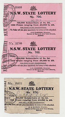 NSW State Lottery Tickets Lottery # 700, 700, 976 J R Cameron Director