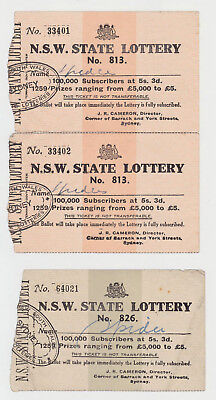 NSW State Lottery Tickets Lottery # 813, 813, 826 J R Cameron Director