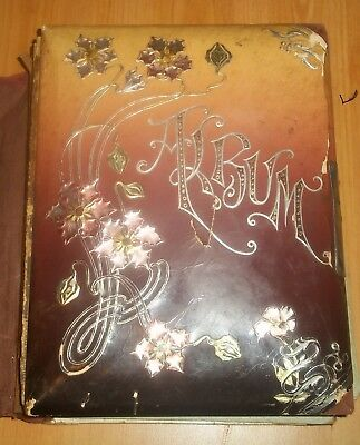 Antique Victorian Photo Album w/ 16 Photographs