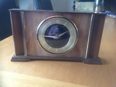 50's - 60's Vintage METAMEC 8 Day Hand Wind Wood & Brass Mantle Clock