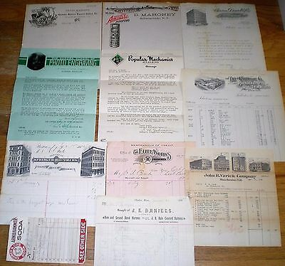11 pc. LOT ~ BILLHEADS & LETTERHEADS ~ 1884 to 1930s ~ PA, NH, NY, MA, IL