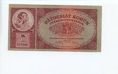CZECHOSLOVAKIA MUCHA NOTE 50 Korun NOT SPECIMEN 1929 p22a Extremely Rare ISSUE