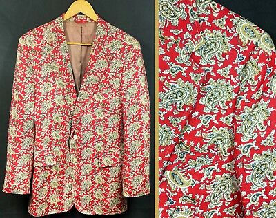 "Vintage 1960s Mens Paisley Jacket Blazer 38"" 40"" Chest 60s 70s Mod Hippie Dandy"