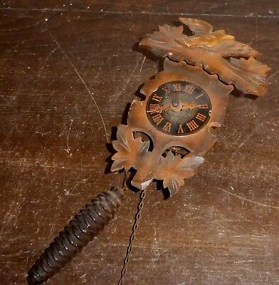 Vintage small wooden chain driven wall clock