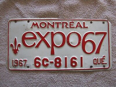 Expo67 Montreal 1967 License Plate 6C-8161