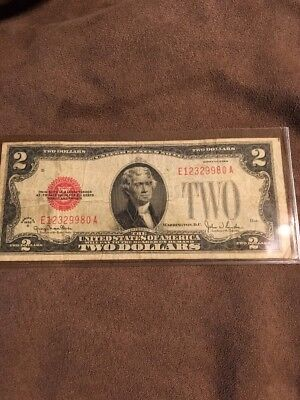1928 G $2 United States Note Two Dollar Bill With Red Seal