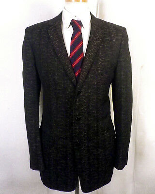 vtg 50s Rockabilly Bronze Rayon Brocade Blazer Sportcoat Narrow lapel 40 L