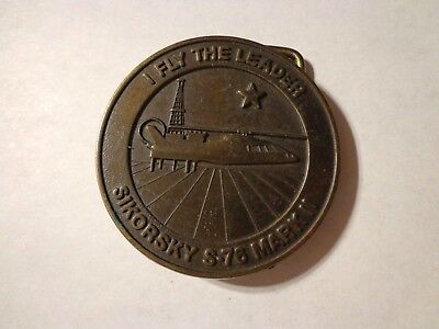 "Sikorsky S-76 Mark II "" I Fly The Leader"",vintage collector Brass Belt Buckle"