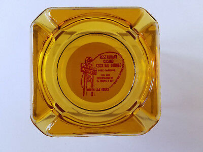 "VINTAGE Casino Ashtray SILVER NUGGET LAS VEGAS Amber Red Square 3.5"" #A16"