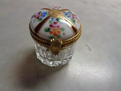 Limoges France Hand Painted Rochard Floral Round Pill Or Trinket Box