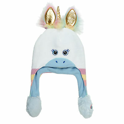 ABG Accessories Unicorn Squeeze and Flap Fun Cold Weather Hat, Little Girls, 4-7