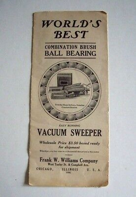 EARLY 20th CENTURY WHOLESALE AD BROCHURE FOR A FRANK W. WILLIAMS VACUUM SWEEPER.