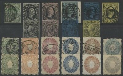 1851 - 1863 Germany German States Saxony Sachsen almost Complete Collection VF