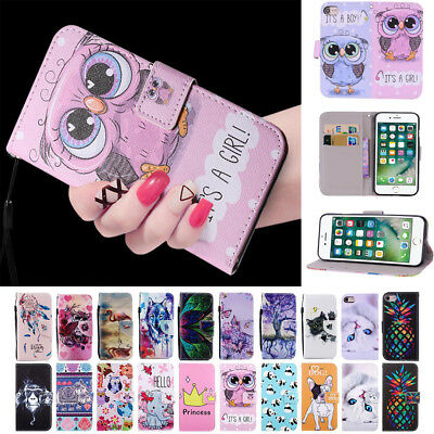 For iPhone X 5S 6 7 8Plus Cool Patterned Magnetic Flip Leather Wallet Case Cover