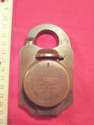 Rare Brass Antique Clarke Treasury Combination Padlock