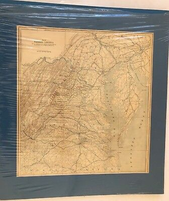 Antique Civil War Map Eastern VIRGINIA Bull Run Battlefield Poster Size