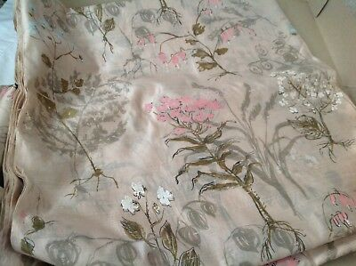 15+ Yards Vintage Antique Floral Printed Pure Silk Fabric~Natural Pink Flowers