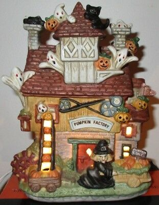 "Haunted Haven Lighted Hand Painted Porcelain Halloween House ""Pumpkin Factory"""