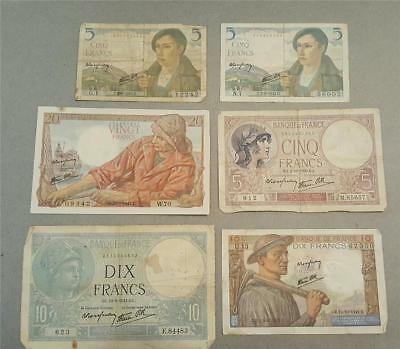 Lot of 6 Vintage French France Dix Vingt Cinq Francs Bank Notes