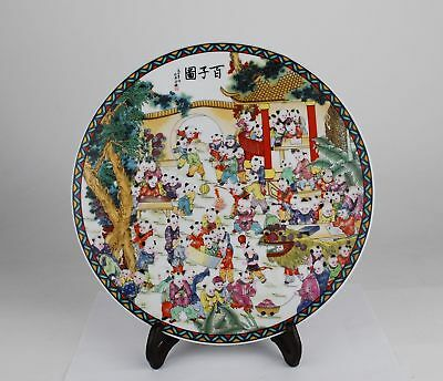 China antique Famille Rose enamels hand painted children play plate woodentripod