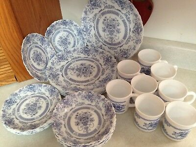 ARCOPAL France HONORINE blue rose pattern 30 pieces plates, saucers, bowls, cups