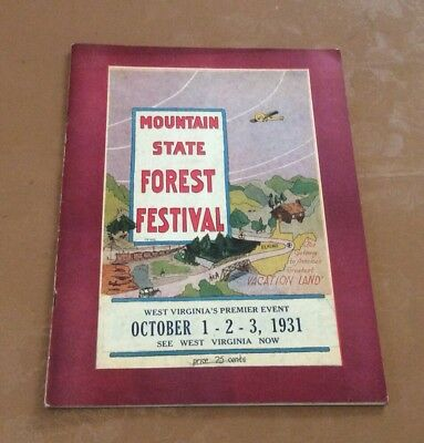 First 1st Mountain State Forest Festival 1930 1931 Program Vintage West Virginia