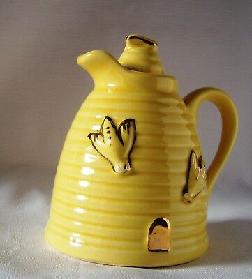 Vintage Bee Hive Honey Pot, Yellow Ribbed with Gold-Leaf Bees, Lid with Bee