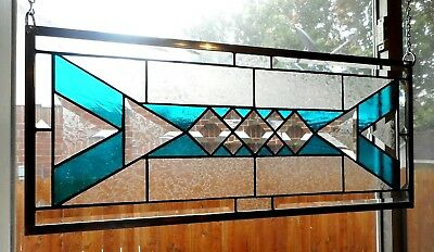 "Stained Glass Window Panel Hanging - Braided - 25 1/8"" x 10 3/4"""
