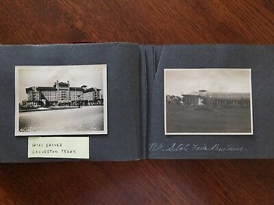 1914 Album steamship train paddle wheel motorcycle Galveston Alamo Dallas NYC