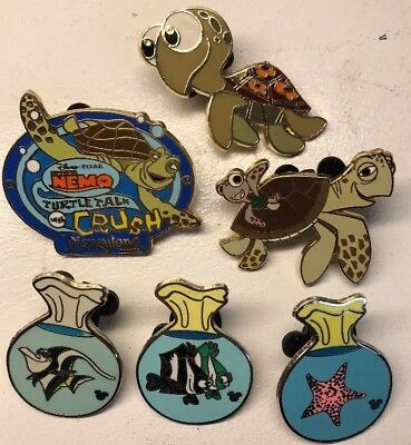 Disney Pins Lot Finding Nemo Turtle Talk Crush Squirt Bags Peach Gill Bubbles