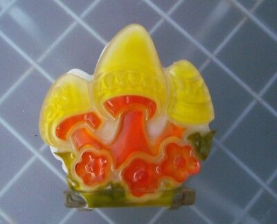 Colorful Vintage MCM Napkin Holder, Mushrooms, Yellow and Orange, Lucite