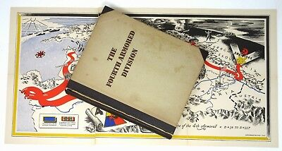 4th Fourth Armored Division WORLD WAR II Army History Book & LARGE MAP 1946