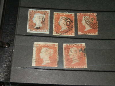 #1923,Great Britain SC#3, Group of FIVE Blue Paper Variety