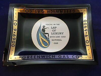 Vintage Wavy Black Glass Advertising Tray Greenwich Gas Company Natural Gas