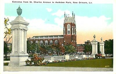 Entrance From St Charles Ave, Audubon Park, New Orleans, Louisiana Old Postcard