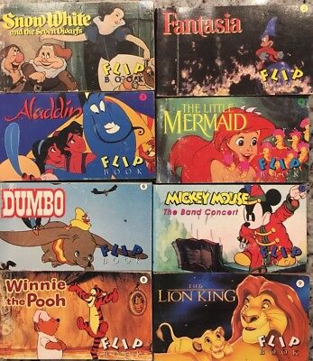 RARE LOT Of 8 Walt Disney Flip Books 1993 Vintage Snow White Dumbo Winnie Pooh