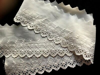 """Antique Broderie Anglaise White Lace Trim Edging Insert 48"""" x 5"""" Home Decor"""