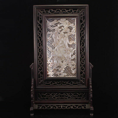 Vintage Chinese Zitan Wood Inlay Hetian Jade Screen - Eight Taoism Deity