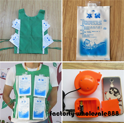 Green Fan Mascot Costume for Head + Cooling Vest With 8 Ice Bag Xmas Dress Party