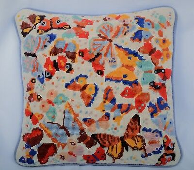 """Vintage Needlepoint Pillow Butterflies Chic Shabby ~12"""""""