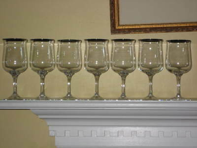 """7 LENOX Crystal INTRIGUE Gold Trim WATER GOBLETS, 7 1/8"""" Never Used"""