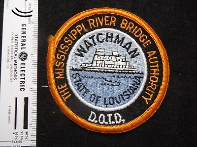 Louisiana Mississippi Toll Bridge Police Watchman patch defunct agency merged