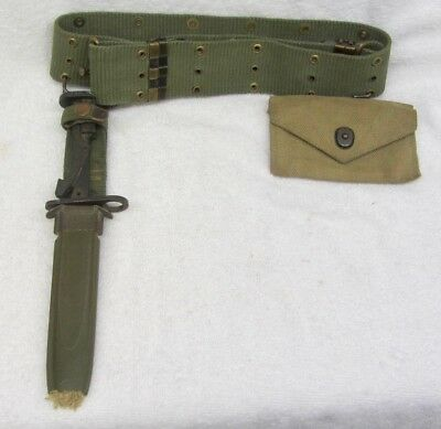 Vintage US Army IMPERIAL Fighting KNIFE M8A1 SCABBARD & Web FIELD BELT & POUCH