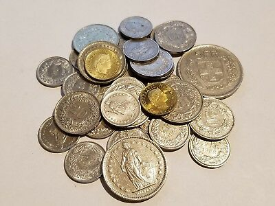 Swiss Franc Coin Lot - 33 Coins (5 Rappen to 5 Francs)